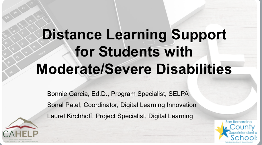 Distance Learning Support for Students with Moderate/Severe Disabilities